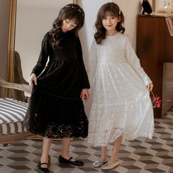 Cynanne - Kids Lace Long-Sleeve Midi A-Line Dress