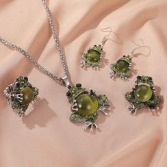 Mulyork - Rhinestone Frog Pendant Necklace / Drop Earring / Brooch / Ring