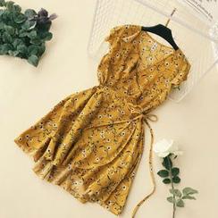 Lucuna - 短袖碎花A字沙滩裙