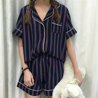 Sadelle - 家居服套装: 条纹短袖衬衫 + 短裤