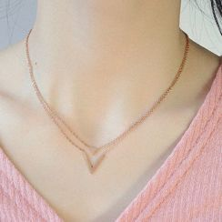 Tenri - Stainless Steel Triangle Pendant Layered Necklace