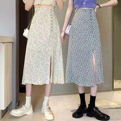 Shopherd - Floral Print Midi A-Line Skirt
