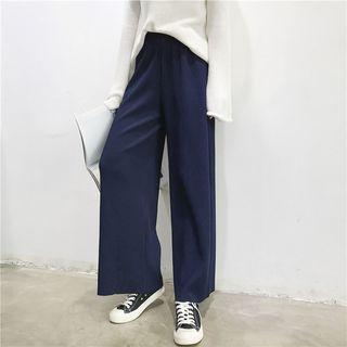 CosmoCorner - Plain High-Waist Loose-Fit Wide-Leg Pants
