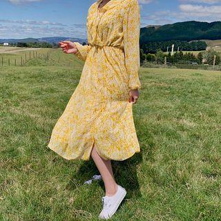 HOTPING - Ruffle-Trim Gathered-Waist Long Floral Dress