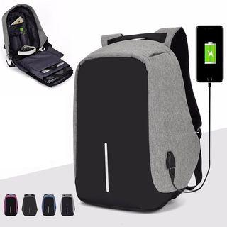 Golden Kelly - USB Port Color Block Laptop Backpack