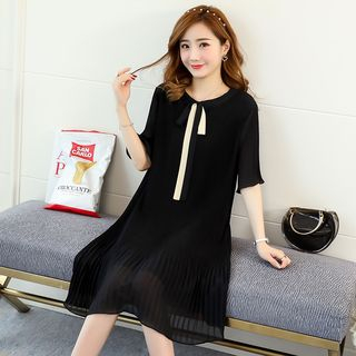 Empressa - Maternity Elbow-Sleeve Pleated Hem Chiffon Dress
