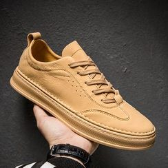 MARTUCCI - Faux Leather Wing-Tip Lace-up Sneakers