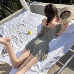 ASUMM - Puff-Sleeve Dotted Lace-Up Back Swimdress