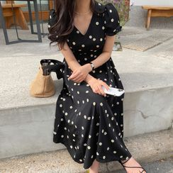UPTOWNHOLIC - Puff-Sleeve Floral Print Midi Dress