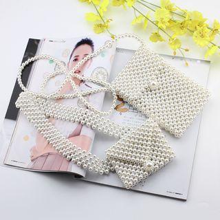 Rofuka(ロフカ) - Faux Pearl Mobile Phone Crossbody Bag / Belt Bag