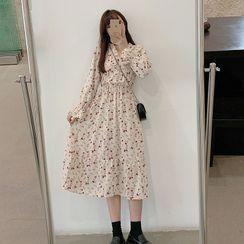 Beauteau - 長袖碎花印花A字連衣中裙