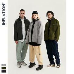 Newin - 立领纯色羊羔绒外套