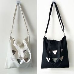 Basaran - Geometric Print Canvas Tote Bag