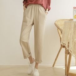 JUSTONE - Band-Waist Cotton Baggy Pants
