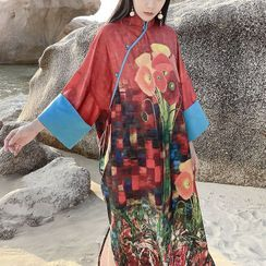 Blank Kiss - Long-Sleeve Mandarin Collar Midi A-Line Dress