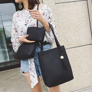 BAGuette - 套装: 纯色手提包 + 单肩包 + 小袋