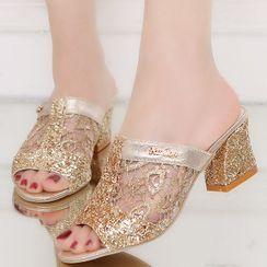 Weiya(ウェイヤ) - Block Heel Sequined Slide Sandals