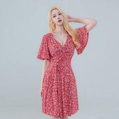 clubber - Floral Print Wrap-Front Dress