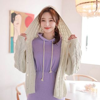 MyFiona - Hooded Cable-Knit Cardigan