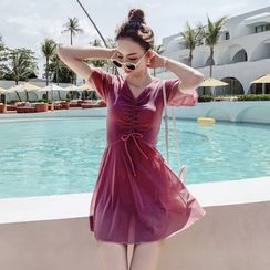 Higun  - Short-Sleeve Drawstring Swimdress
