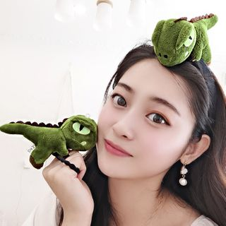 Caramella - Chenille Dinosaur Face Wash Headband / Hair Tie
