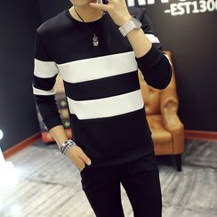 Wewewow - Long-Sleeve Striped T-Shirt