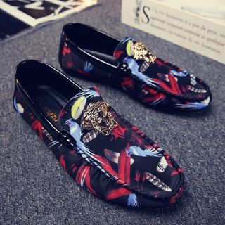 B-Z - Canvas Feather Print Buckled Loafers