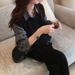 Lewwe - 套裝: 長袖襯衫 + 針織馬甲