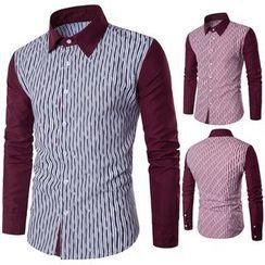 Fireon - Long-Sleeve Paneled Striped Shirt