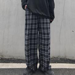 Giuliana - High-Waist Plaid Straight-Cut Pants