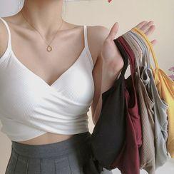 Shinsei - 假两件胸垫短款吊带背心