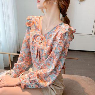 Happo(ハッポー) - Ruffled Floral Print Blouse