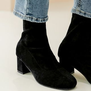 MERONGSHOP - Block-Heel Faux-Suede Boots