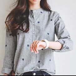 Katie Bloom - 树叶刺绣条纹衬衫