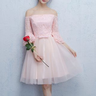 Luxury Style - Lace Panel Tulle Bridesmaid Dress (6 Designs)