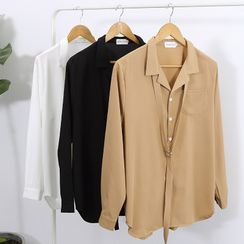 VEAZ - Couple Matching Long-Sleeve Tie-Neck Shirt