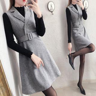 MARGOT - Long-Sleeve Knit Top / Notch-Lapel Mini Pinafore Dress / Set
