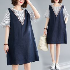 Kins Hazzel - Mock Two-Piece Short-Sleeve Shift Dress