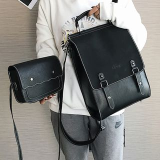 della renna - Set: Faux Leather Backpack + Crossbody Bag