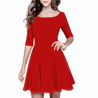 Oscuro - Elbow-Sleeve A-line Dress