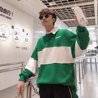 EOW - Color Block Long-Sleeve Polo Shirt