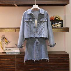 Sugar Town - Set: Button Denim Jacket + Mini A-Line Skirt