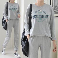 Seoul Fashion - Letter T-Shirt & Jogger Pants Sweatsuit Set