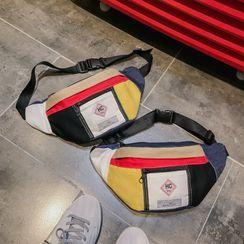Sosara(ソサラ) - Color Block Denim Panel Belt Bag