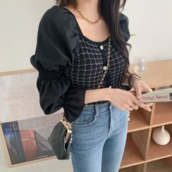 DEEPNY - Puff-Sleeve Tweed Cropped Blouse