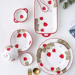 Kawa Simaya - Strawberry Print Ceramic Plate / Bowl / Food Tray / Spoon