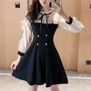 Jangmi - Long-Sleeve Chiffon Panel Mini A-Line Dress