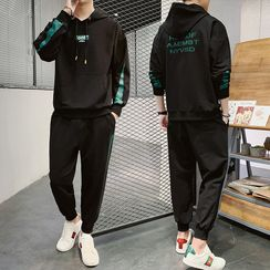 Bay Go Mall - Set: Lettering Hoodie + Sweatpants