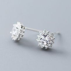 A'ROCH(エーロック) - 925 Sterling Silver Rhinestone Snowflake Earring