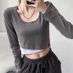 Nesmi - Long-Sleeve Mock Two-Piece Cropped Dance T-Shirt
